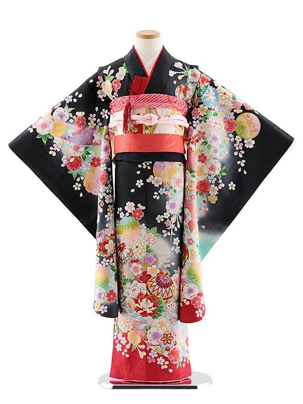七五三レンタル(7歳女児袋帯) 7837 正絹 黒 裾赤桜まり
