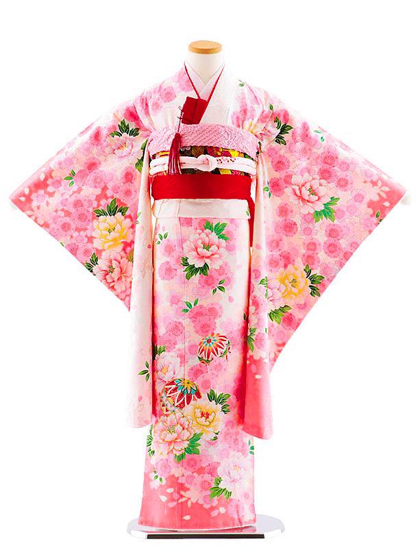 七五三レンタル(7歳女児袋帯) 7838 正絹 白 桜ぼたんまり