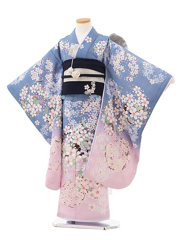 七五三(7歳)7850 NATURAL BEAUTYブルー ストライプ桜の花