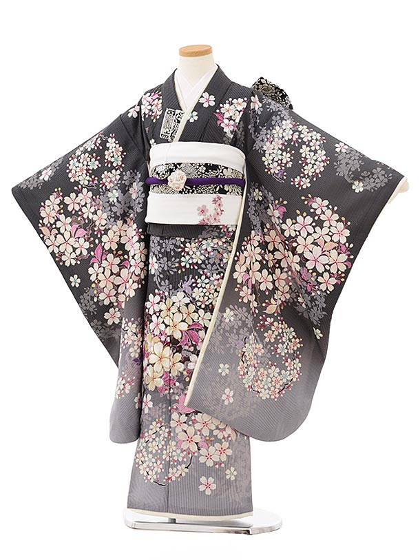 七五三(7歳)7851 NATURAL BEAUTYグレーストライプ桜の花