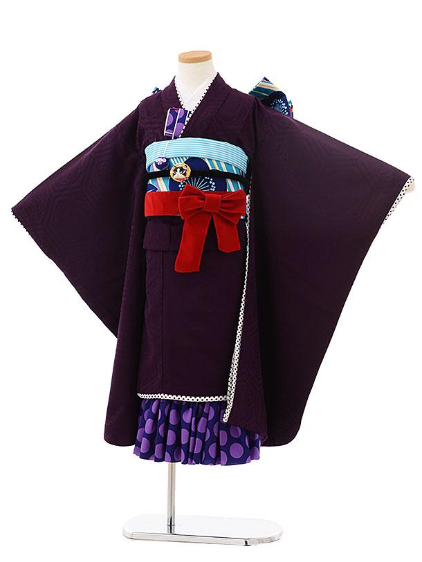 七五三(7歳)7854 JAPAN STYLE  パープル 無地亀甲綸子