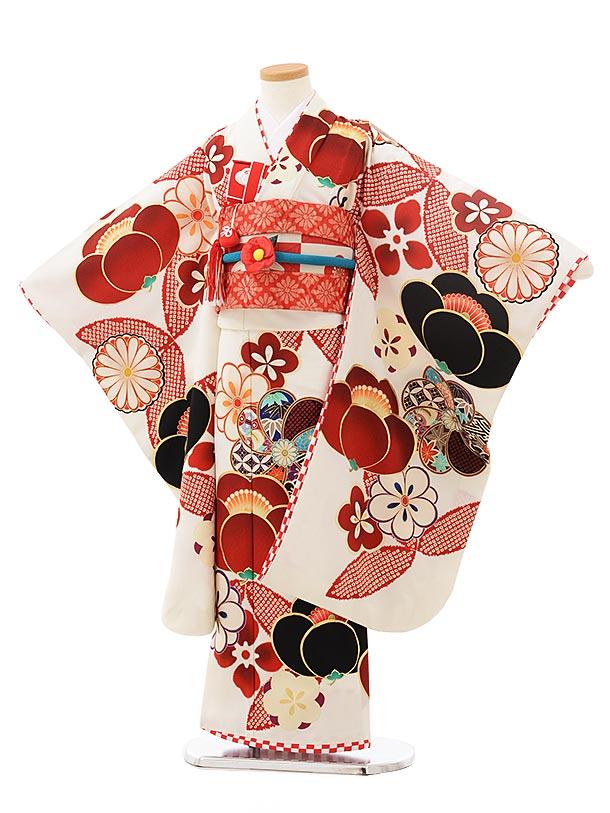七五三(7歳)7863 JAPAN STYLE  白地 絵羽 万寿梅に七宝