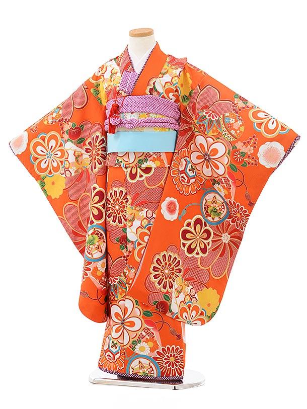 七五三レンタル(7歳女の子結び帯)7870 ぷちぷり オレンジ地 菊にまり