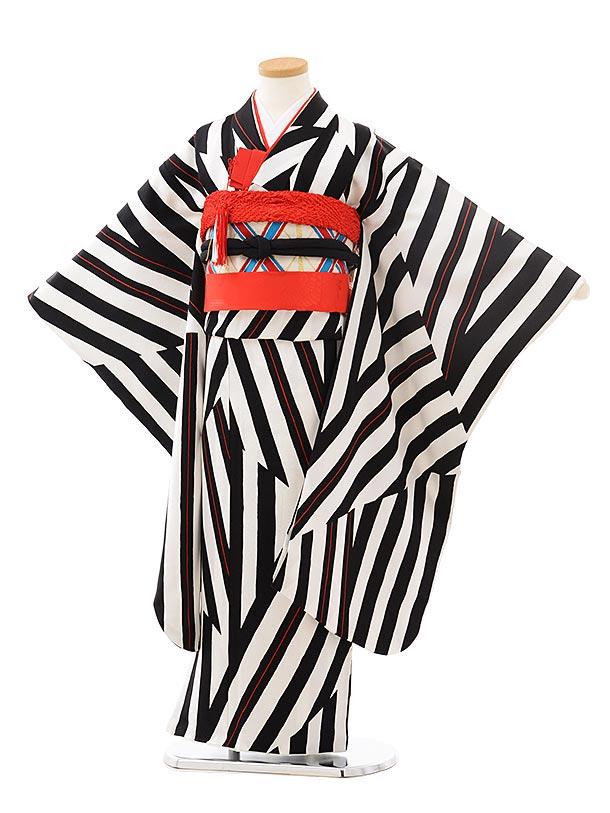七五三レンタル(7歳女の子袋帯)7871 白黒変わりストライプ (正絹)
