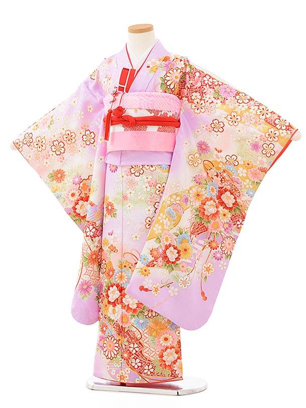 753レンタル(7歳女結び帯)7878 パープル 桜花