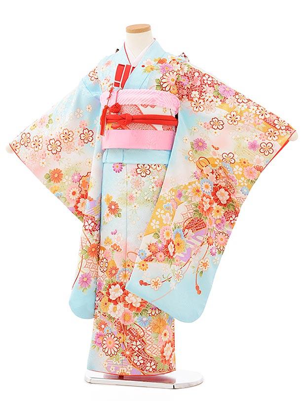 753レンタル(7歳女結び帯)7879 水色 桜花