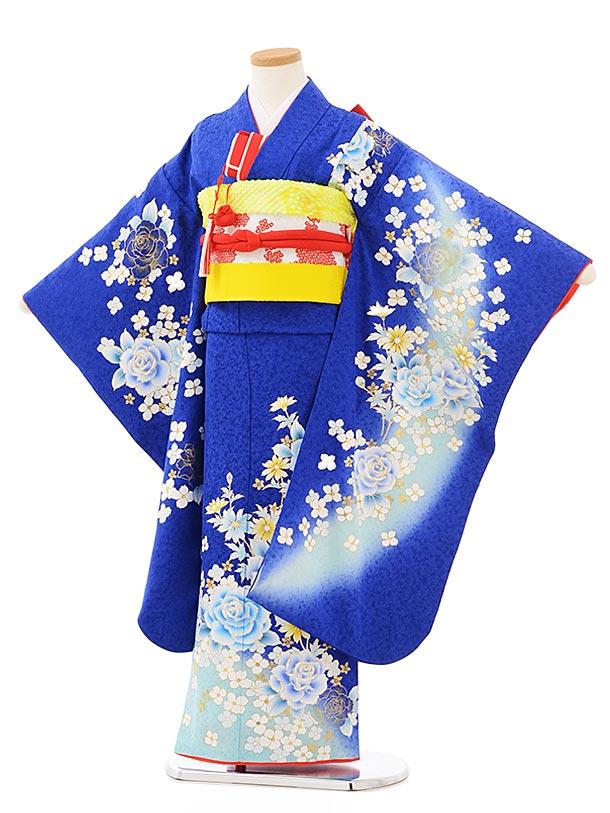 七五三(7歳女児結び帯)7881正絹 ブルーラメ洋花