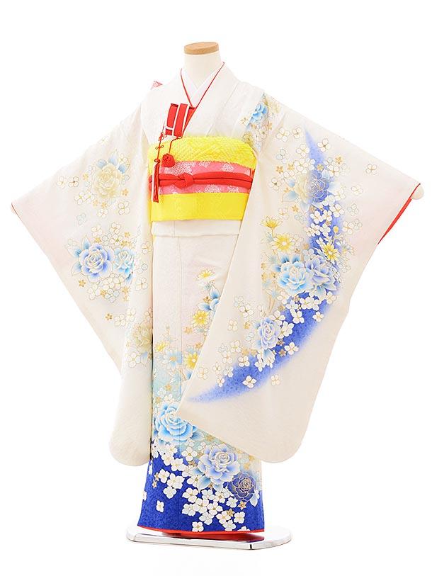 七五三(7歳女児結び帯)7883正絹 白×ブルーラメ 洋花