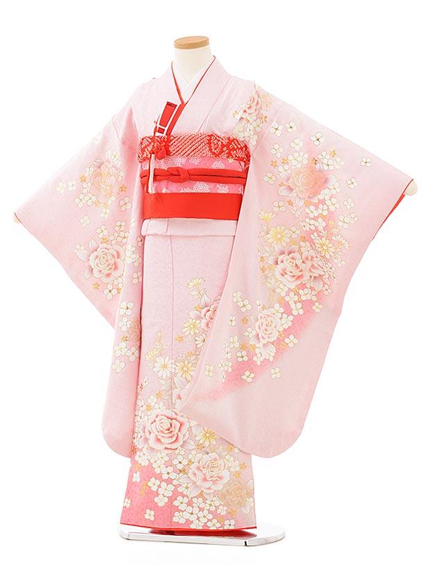 七五三(7歳女児結び帯)7885正絹 薄ピンクラメ 洋花