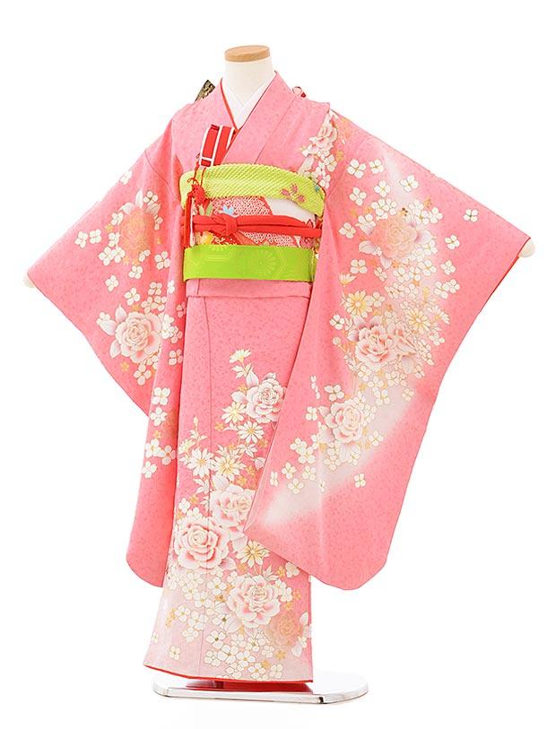 七五三(7歳女児結び帯)7886正絹 ピンクラメ 洋花