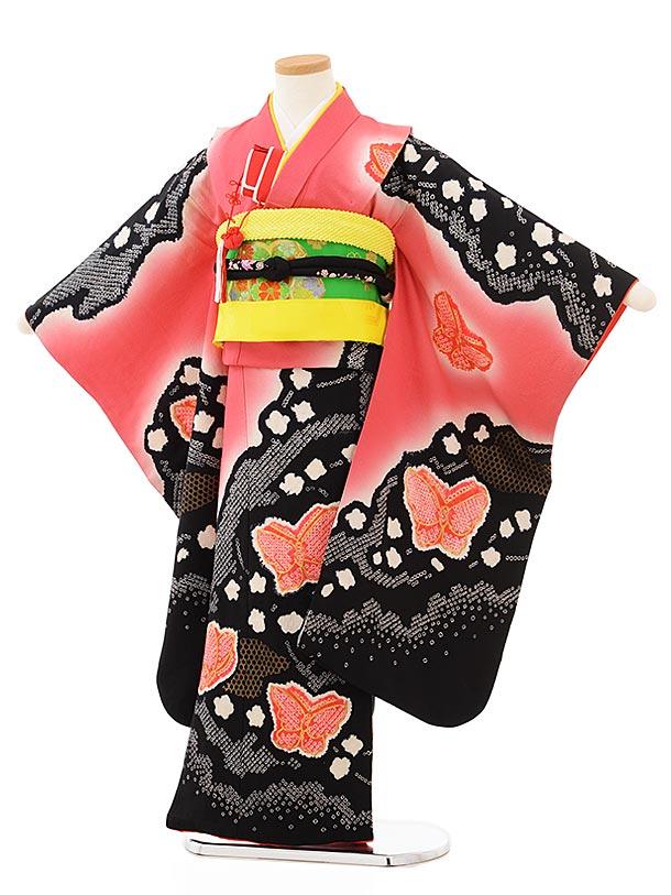 七五三レンタル(7歳女児袋帯) 7887 正絹 薄赤×黒 雲取りに蝶