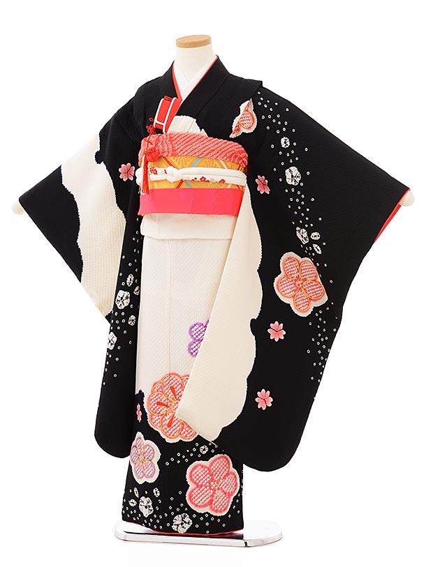 七五三レンタル(7歳女児袋帯) 7888 正絹 黒×白 雪輪に梅