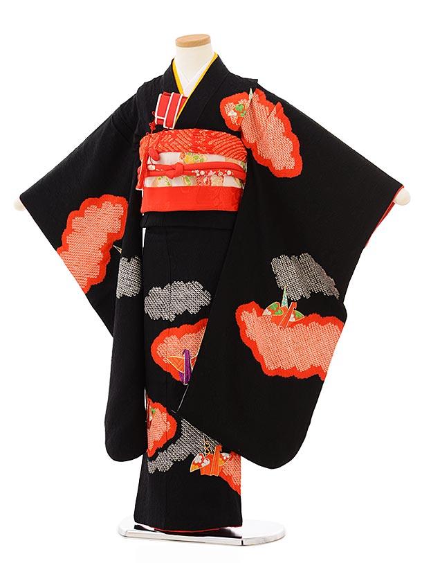 七五三レンタル(7歳女児袋帯) 7890 正絹 黒地 雲取り折鶴