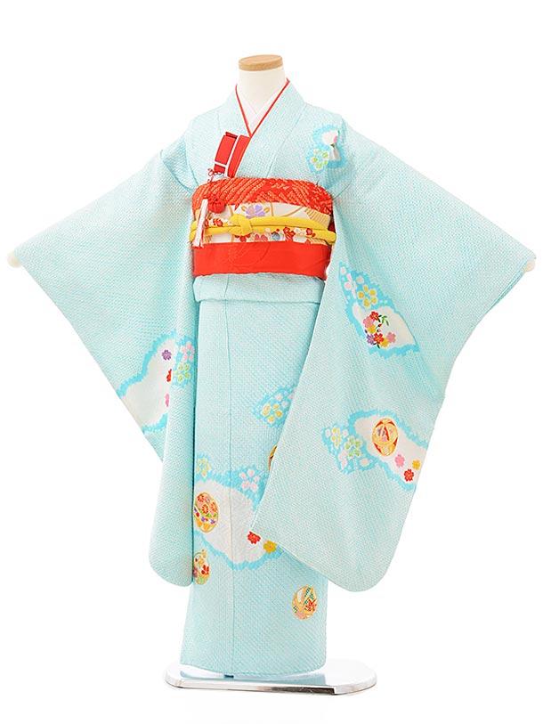 七五三レンタル(7歳女児袋帯) 7892 高級正絹 水色総絞り 鞠刺繍