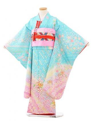 七五三レンタル(7歳女児袋帯) 7893 正絹 水色 桜づくし鈴