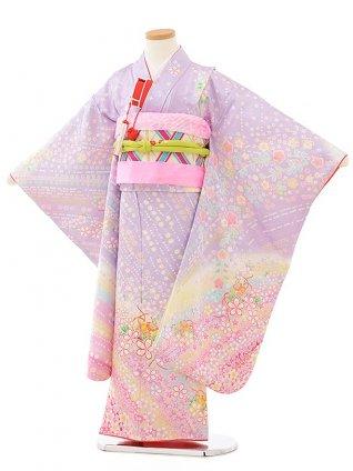 七五三レンタル(7歳女児袋帯) 7894 正絹 パープル 虹色桜づくし鈴