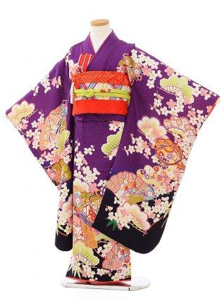 七五三レンタル(7歳女児袋帯) 7895 正絹 紫地 古典扇とまり