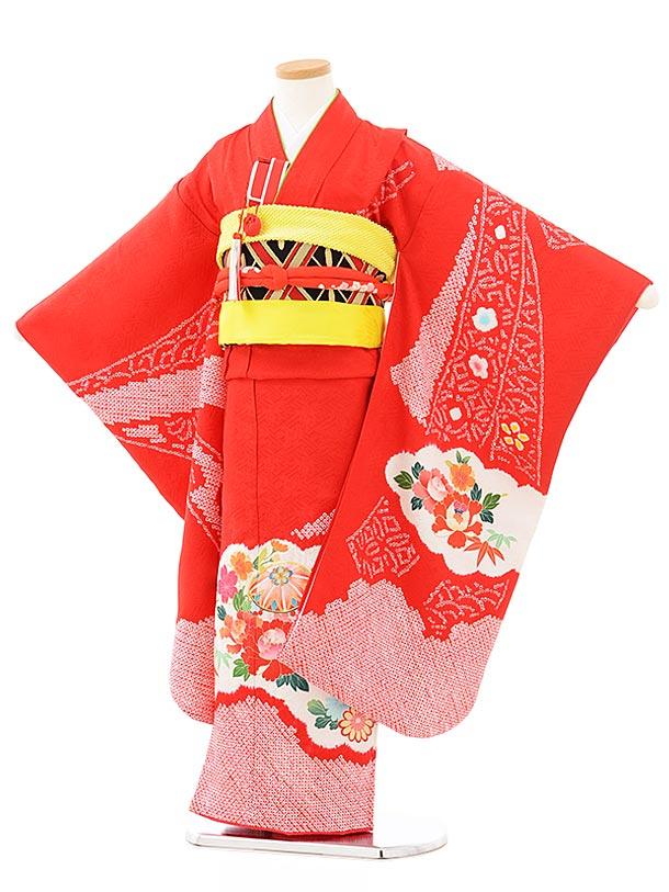 七五三レンタル(7歳女児袋帯) 7896 正絹 赤絞り 束ね熨斗 雲取り花