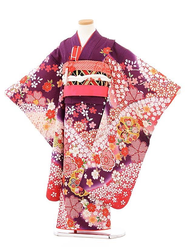 七五三レンタル(7歳女児袋帯) 7897 正絹 パープル 桜づくし