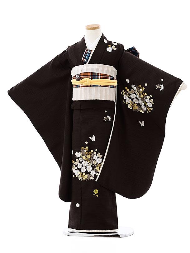 七五三(7歳)7900 Kamishibai 茶色ミモザ刺繍