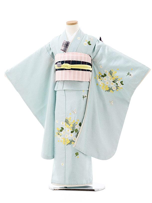 七五三(7歳)7901 Kamishibai 水色ミモザ刺繍