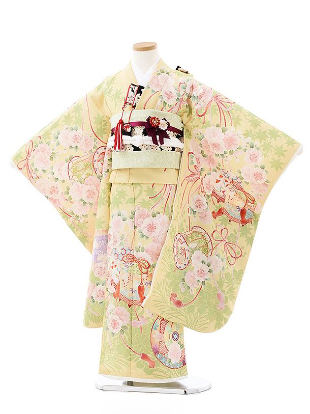 七五三(7歳)7907 華徒然 黄色絵羽 春秋桜