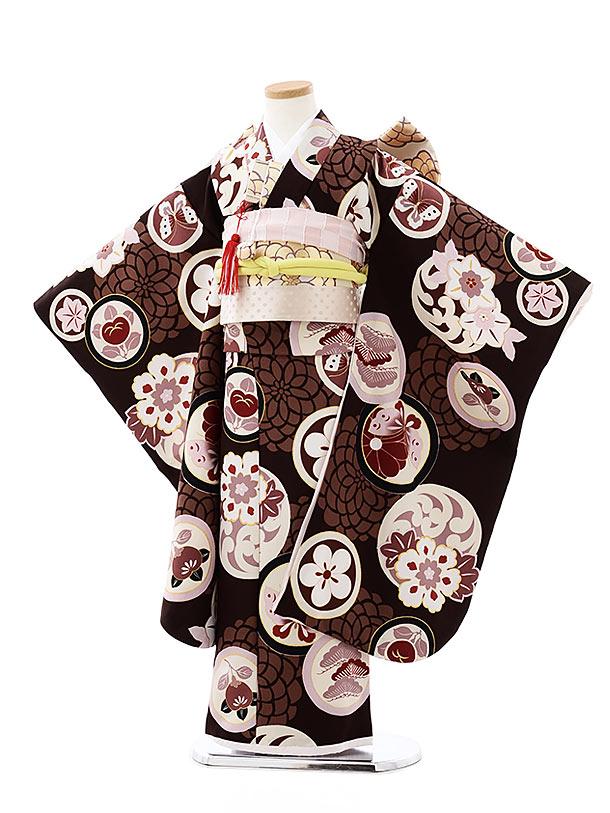 七五三(7歳女の子結び帯)7908 ぷちぷり 茶丸紋