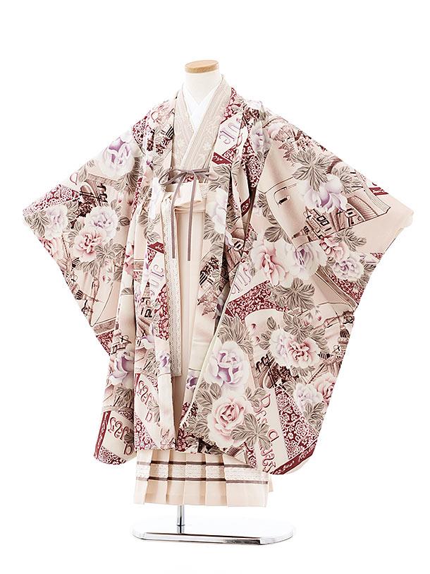 七五三(7歳袴)7916 九重 ベージュピンクローズブック×クリーム袴