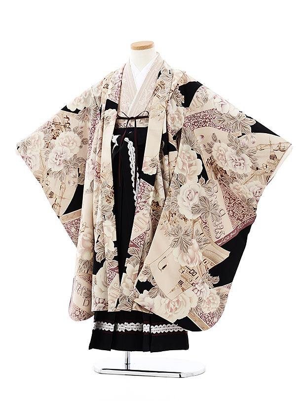 七五三(7歳袴)7917 九重 ベージュ黒ローズブック×黒袴