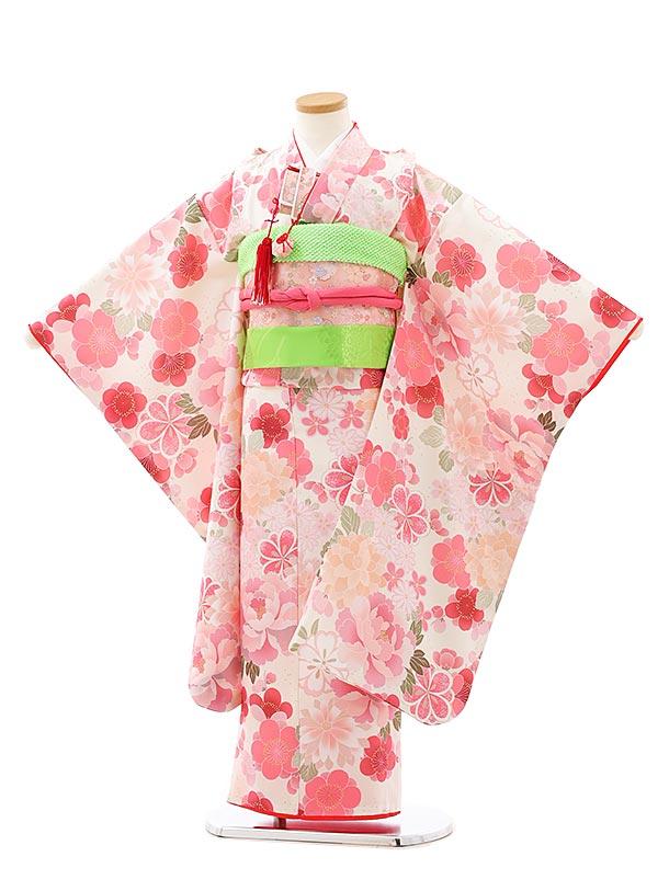 七五三レンタル(7歳女児結び帯)7926白地ピンク花
