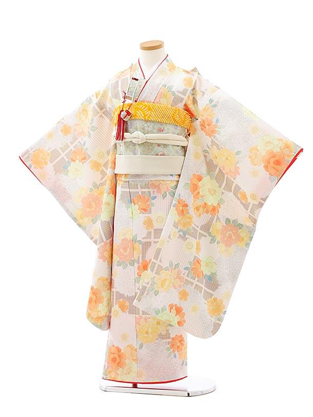 七五三レンタル(7歳女児結び帯)7927グレージュ格子オレンジ花