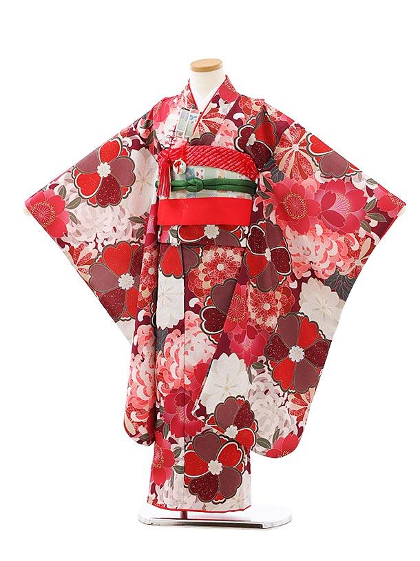 七五三レンタル(7歳女児結び帯)7929ボルドー桜菊