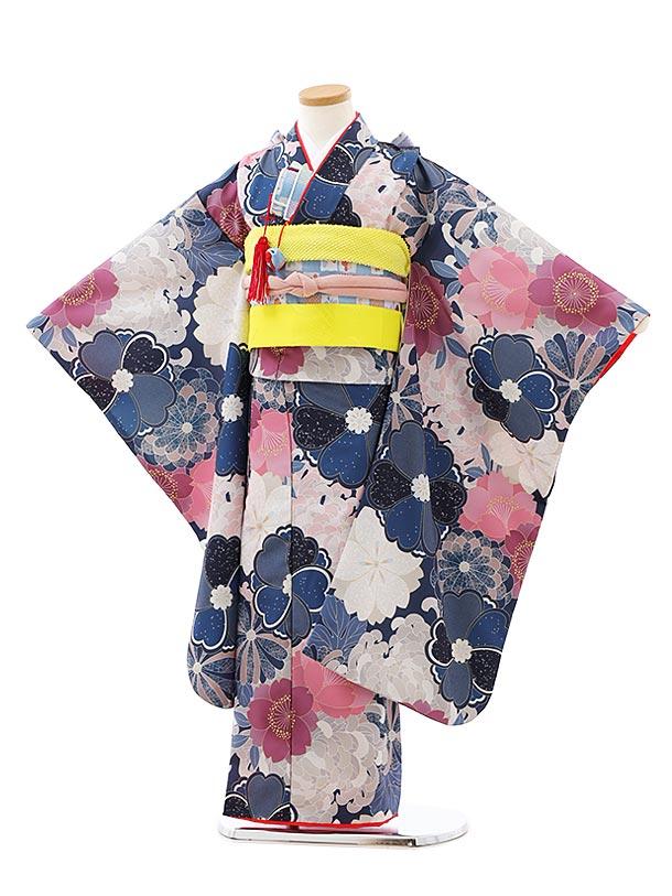 七五三レンタル(7歳女児結び帯)7931グレー桜菊