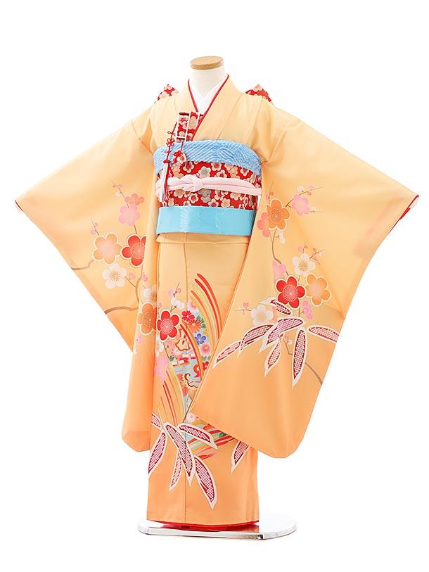七五三レンタル(7歳女児結び帯)7940オレンジ松竹梅