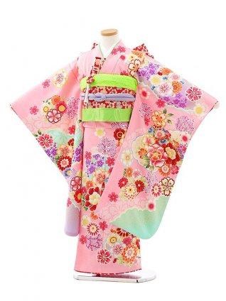 七五三レンタル(7歳女児結び帯)7941ピンク地雲取り花づくし