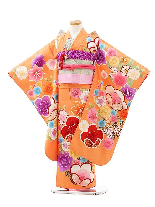 七五三レンタル(7歳女児結び帯)7942オレンジ地梅花
