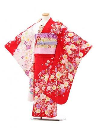 七五三レンタル(7歳女児結び帯)7946赤白地桜