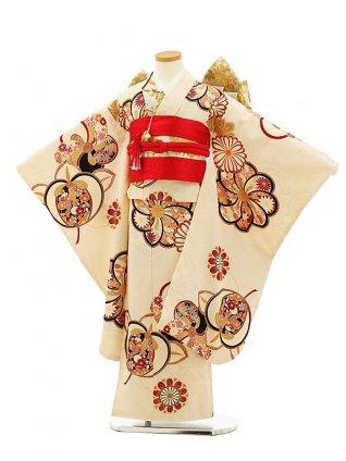 七五三(7歳女児結び帯) 高級正絹 7947 紅一点 アイボリー 梅菊橘
