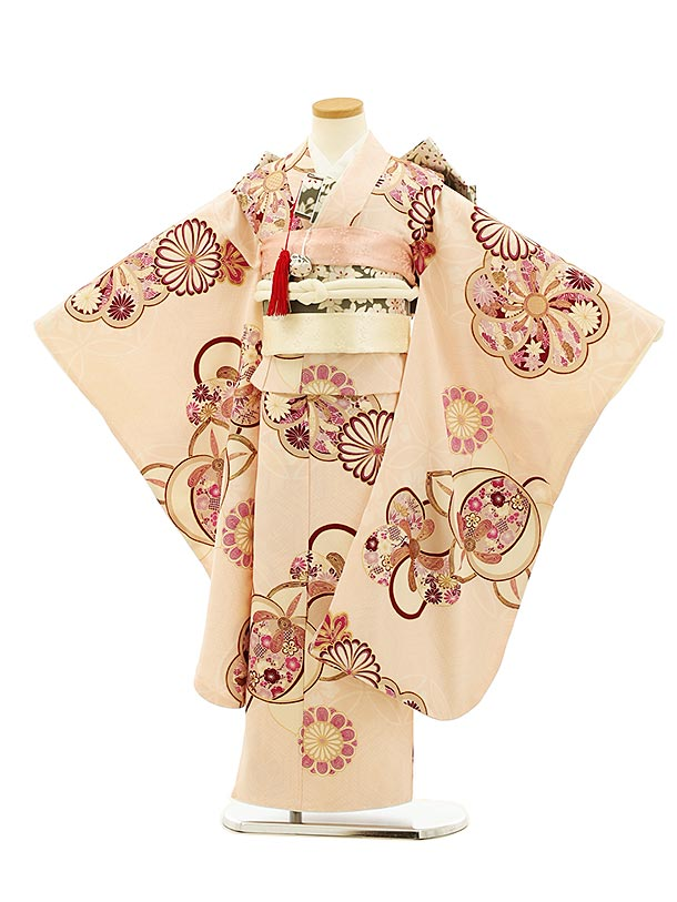 七五三(7歳女児結び帯) 高級正絹 7952 紅一点 ピンク地 梅菊橘