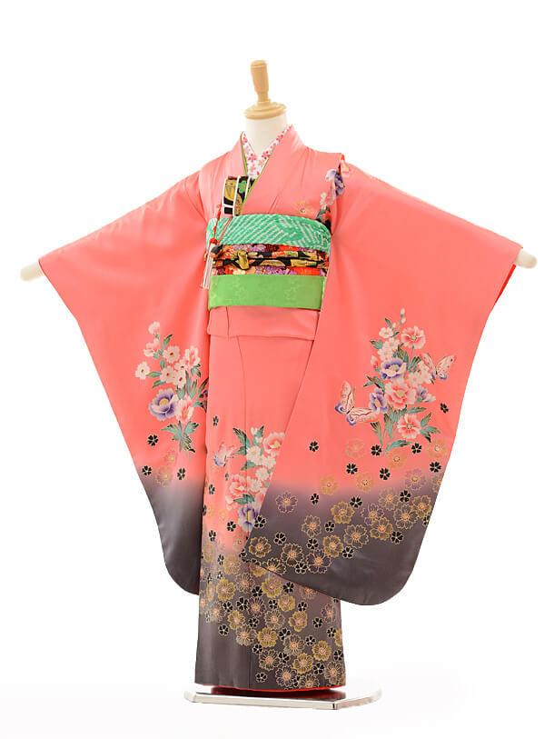 七五三(7歳女結び帯)A087 ピンク花に蝶(正絹)