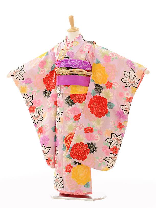 七五三(7歳女結び帯)A088花わらべ赤バラ