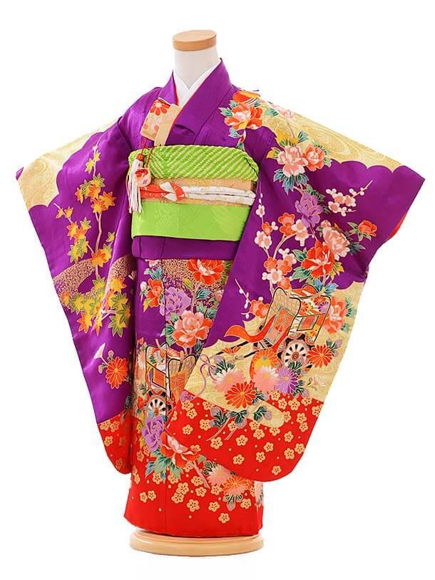 七五三レンタル(3歳女結び帯)A092 紫 御所車に花