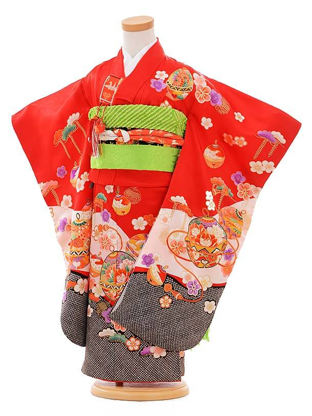 七五三レンタル(3歳女結び帯)A093 赤 裾黒 鈴