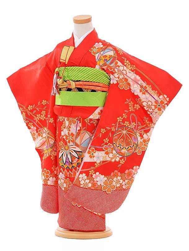 七五三レンタル(3歳女結び帯)A094 赤 枝垂れ桜 まり