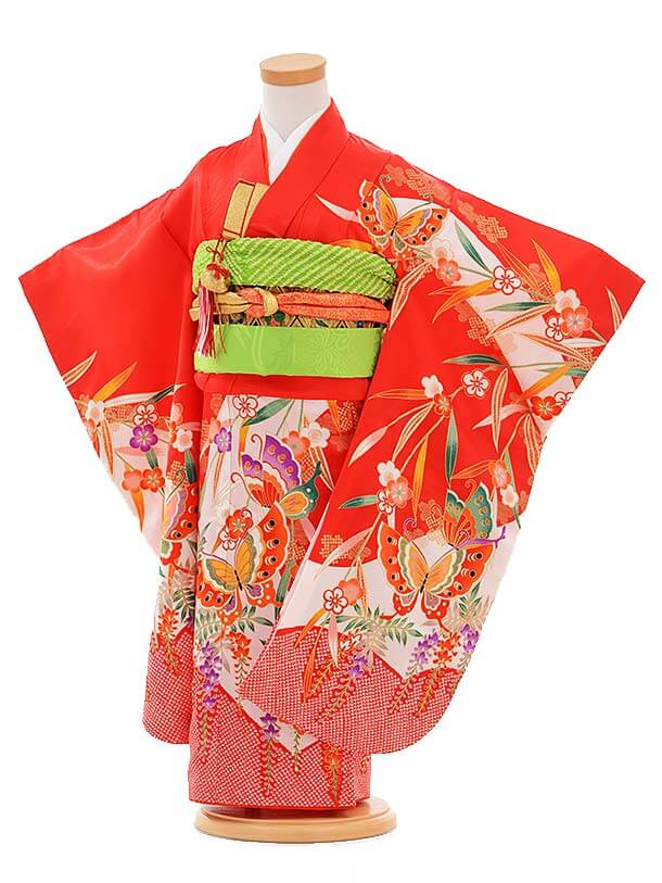 七五三レンタル(3歳女結び帯)A096 赤 蝶