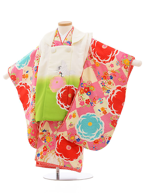 七五三レンタル(3歳女被布)A112 JAPANSTYLE 白×ピンク 花
