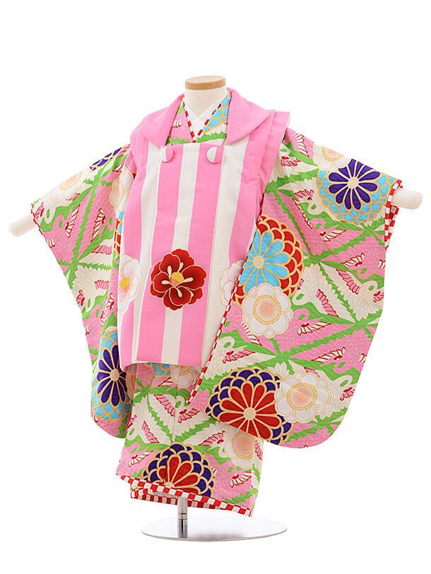 七五三レンタル(3歳女被布)A113JAPANSTYLEピンクストライプ×ピンク菊