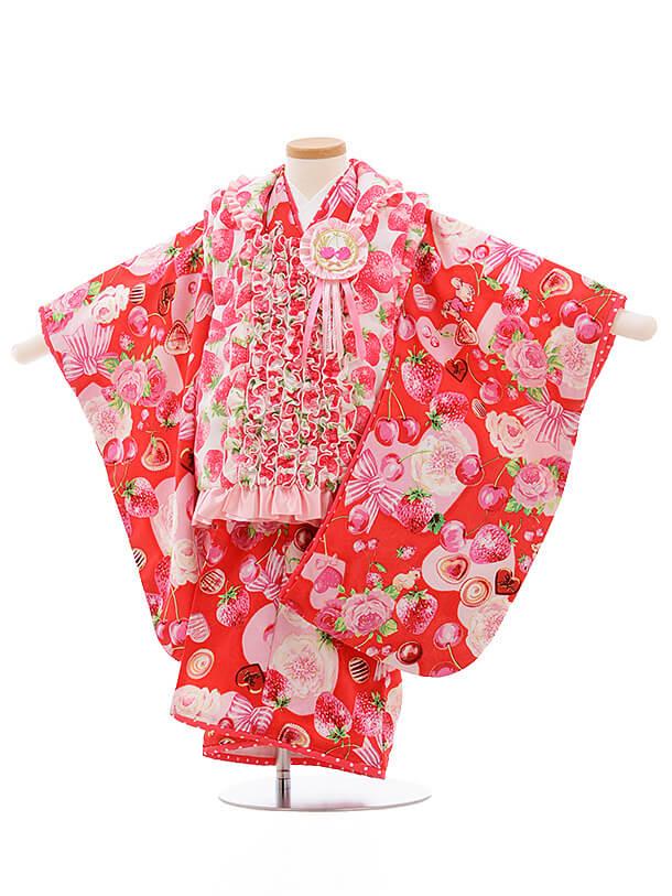 七五三レンタル(3歳女被布)A115 seiko 白いちご×赤チェリー