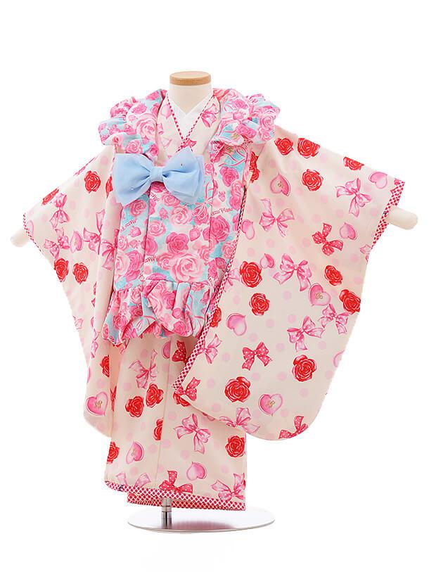 七五三レンタル(3歳女被布)A119 メゾピアノ 水色バラ×白バラ