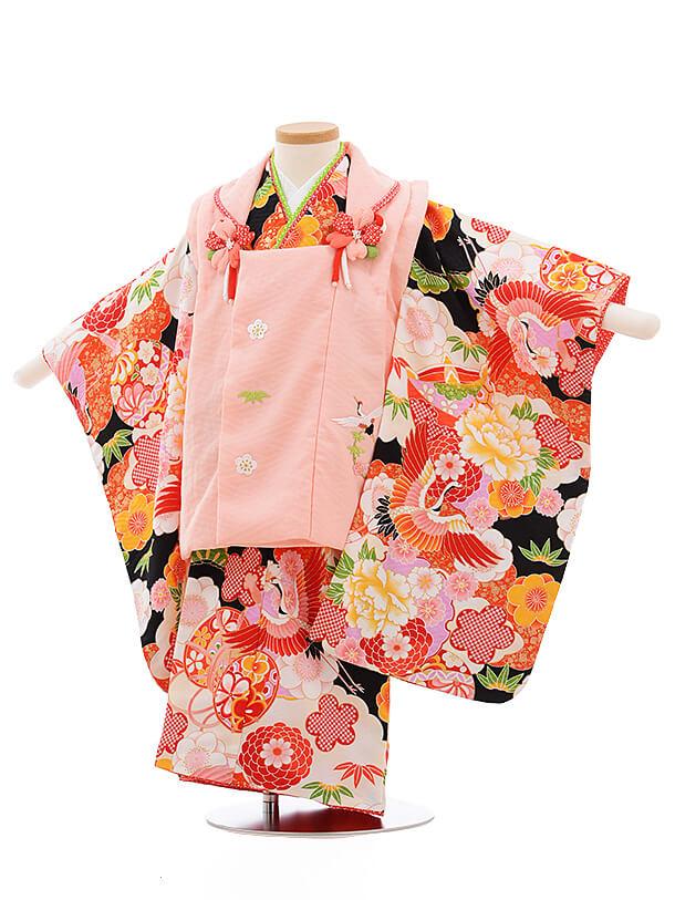 七五三レンタル(3歳女被布)A120 式部浪漫 ピンク×黒地 鶴